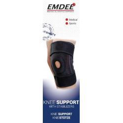 Knieband met stabilisatoren zwart MD2255
